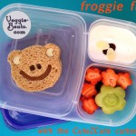 Froggie fun lunch - a cute frog eyes a flying in the yogurt